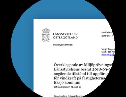 Miljöprövningsdelegationen, Östergötlands länsstyrelses yttrande over Vattenfall Vindkraft AB·s kompletterede tillståndsansökan.