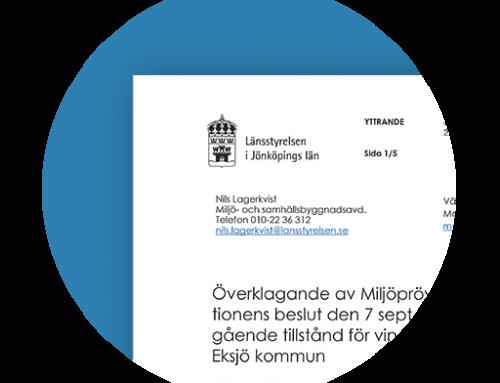 Länsstyrelsen i Jönköpings yttrande over Vattenfall Vindkraft AB:s kompletterede tillståndsansökan.